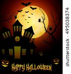 halloween night background with ... | Shutterstock .eps vector #495038374