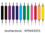 marker pen set isolated on...   Shutterstock .eps vector #495043351