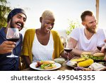 group of people dining concept | Shutterstock . vector #495045355