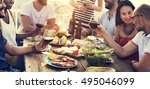 group of people dining... | Shutterstock . vector #495046099