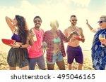 diverse young people fun beach...   Shutterstock . vector #495046165