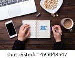top view office desk mockup ... | Shutterstock . vector #495048547
