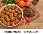meatballs with tomato sauce on... | Shutterstock . vector #495050329