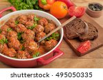 meatballs with tomato sauce on... | Shutterstock . vector #495050335