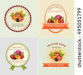 colorful vegetables badge | Shutterstock .eps vector #495051799
