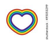 rainbow icon heart. flat sign ... | Shutterstock . vector #495053299