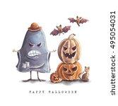 greeting card for for halloween ... | Shutterstock . vector #495054031