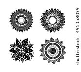 set of 4 black zentangle... | Shutterstock .eps vector #495058099