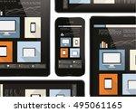 web design on tablet and smart... | Shutterstock .eps vector #495061165