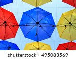 colorful umbrellas background.... | Shutterstock . vector #495083569