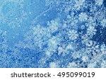 winter frost pattern blue.... | Shutterstock . vector #495099019