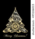 stylized christmas tree on... | Shutterstock .eps vector #495106015
