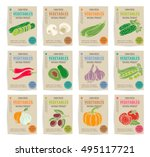 hand drawn vegetables posters... | Shutterstock .eps vector #495117721