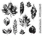 vector leaves print set... | Shutterstock .eps vector #495118645