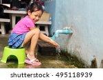 Smile Cute Child Wash Their...