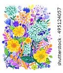 bouquet of flower. hand drawn... | Shutterstock . vector #495124057