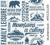 typographic vector mountain and ... | Shutterstock .eps vector #495131155