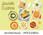 jewish cuisine dishes icon with ... | Shutterstock .eps vector #495133801