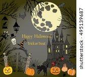 halloween. background with ... | Shutterstock .eps vector #495139687