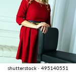 blond woman in beautiful red... | Shutterstock . vector #495140551