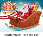 merry christmas with santa claus | Shutterstock .eps vector #495151159