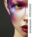 beauty  cosmetics and makeup.... | Shutterstock . vector #495152425