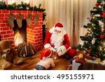 santa claus on the floor in the ... | Shutterstock . vector #495155971