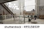 industrial interior  office... | Shutterstock . vector #495158539