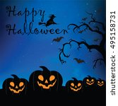halloween night scene | Shutterstock .eps vector #495158731