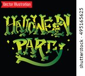 halloween party inscription.... | Shutterstock .eps vector #495165625