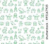 funny monsters pattern | Shutterstock .eps vector #495167935