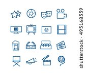 set of 16 outline cinema icons. ... | Shutterstock .eps vector #495168559