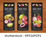 exotic tropical fruits banners... | Shutterstock .eps vector #495169291