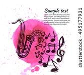 saxophone musical instrument... | Shutterstock .eps vector #495177931
