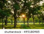 sunset at green city public... | Shutterstock . vector #495180985