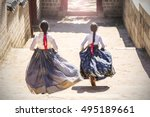 two korean girls dressed in... | Shutterstock . vector #495189661