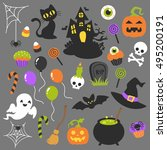 halloween vector clip art... | Shutterstock .eps vector #495200191