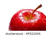 Red Apple With Drops Of Close
