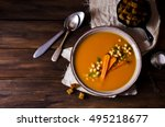 pumpkin and carrot soup with... | Shutterstock . vector #495218677