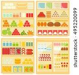 set of shop and supermarket...   Shutterstock .eps vector #495220099