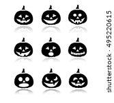 halloween pumpkins icons   Shutterstock .eps vector #495220615