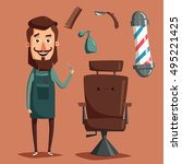 cute barber character. barber... | Shutterstock .eps vector #495221425
