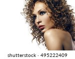 attracive tan girl with afro... | Shutterstock . vector #495222409