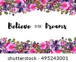 flower frame. colorful floral... | Shutterstock . vector #495243001