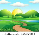 nature scene with road and... | Shutterstock .eps vector #495250021