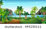 beach scene with palms | Shutterstock .eps vector #495250111