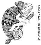chameleon tattoo. chameleon... | Shutterstock .eps vector #495254491