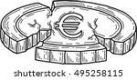 euro coin damaged  vector  | Shutterstock .eps vector #495258115