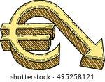 euro value decrease  vector  | Shutterstock .eps vector #495258121