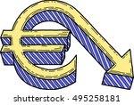 euro value decrease  vector  | Shutterstock .eps vector #495258181